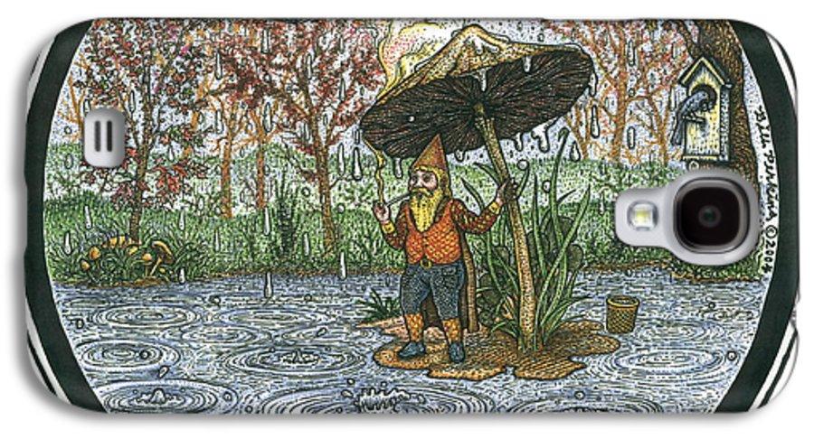 Rain Galaxy S4 Case featuring the drawing Rain Gnome Rain Circle by Bill Perkins