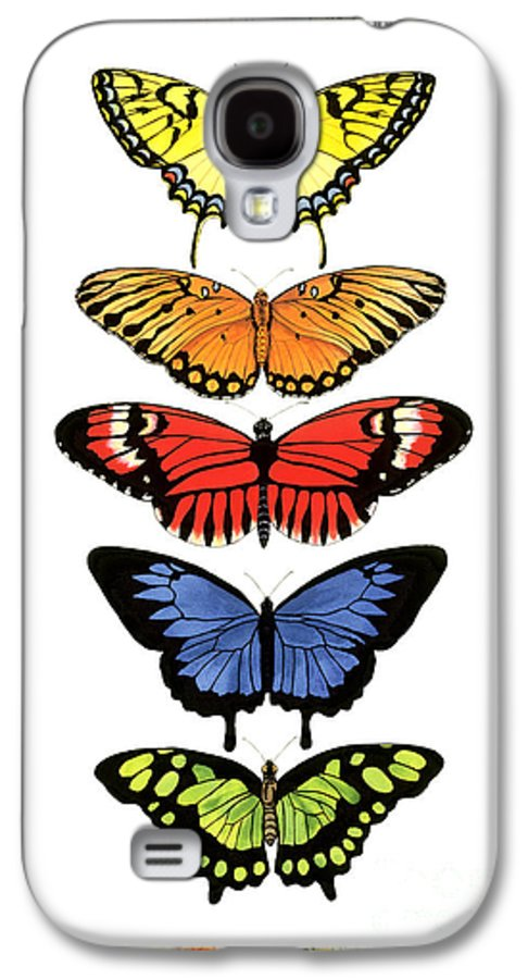 Butterflies Galaxy S4 Case featuring the painting Rainbow Butterflies by Lucy Arnold