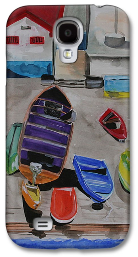 Boats Galaxy S4 Case featuring the painting Rainbow On The Dock by Jean Blackmer