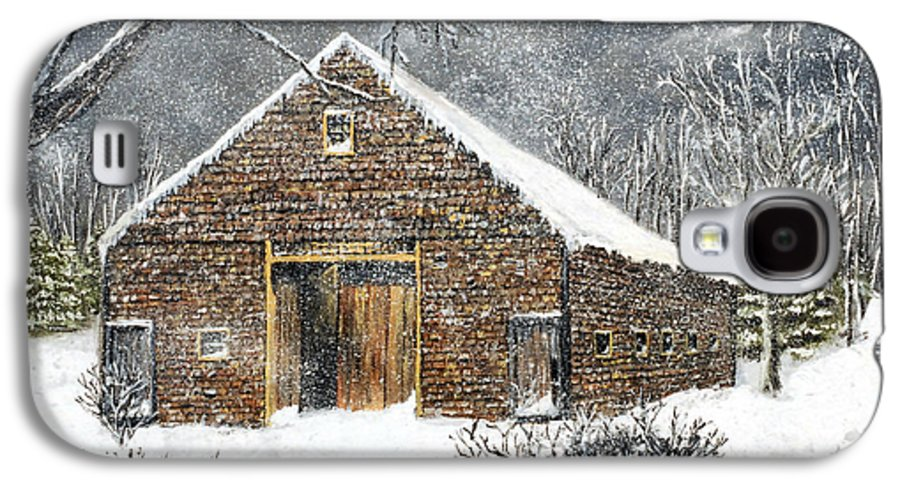 Barns Galaxy S4 Case featuring the painting Ray Emerson's Old Barn by Jack Skinner