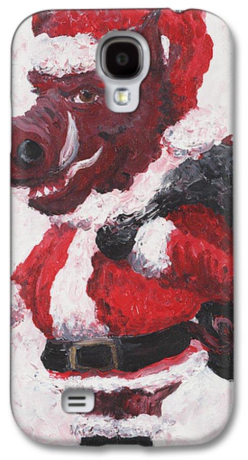 Santa Galaxy S4 Case featuring the painting Razorback Santa by Nadine Rippelmeyer