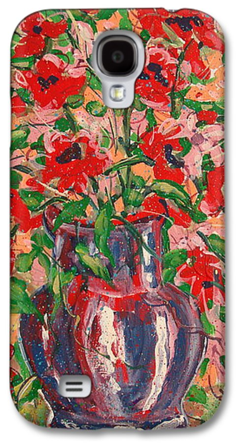 Flowers Galaxy S4 Case featuring the painting Red And Pink Poppies. by Leonard Holland