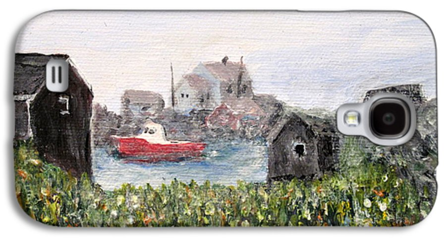 Red Boat Galaxy S4 Case featuring the painting Red Boat In Peggys Cove Nova Scotia by Ian MacDonald