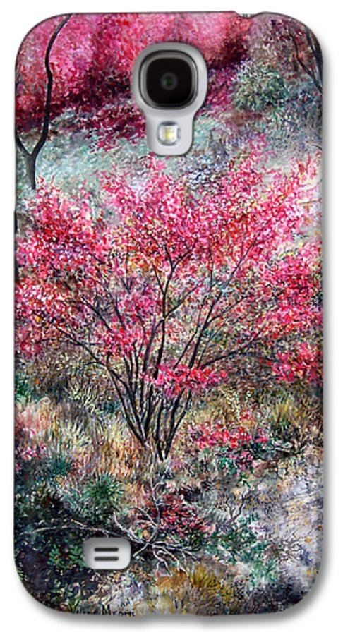 Landscape Galaxy S4 Case featuring the painting Red Bush by Valerie Meotti