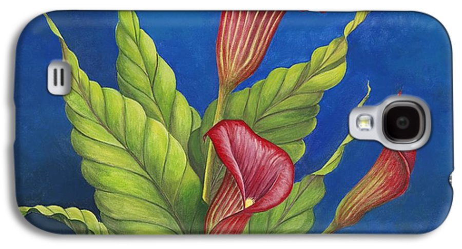 Red Calla Lillies On Blue Background Galaxy S4 Case featuring the painting Red Calla Lillies by Carol Sabo