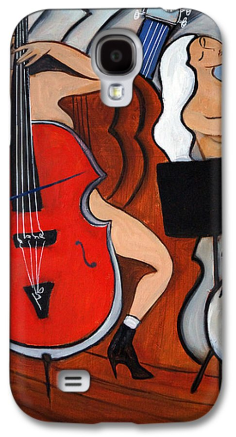 Cubic Abstract Galaxy S4 Case featuring the painting Red Cello 2 by Valerie Vescovi