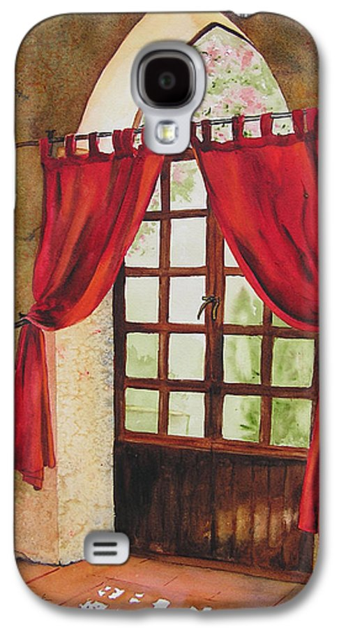 Curtain Galaxy S4 Case featuring the painting Red Curtain by Karen Stark