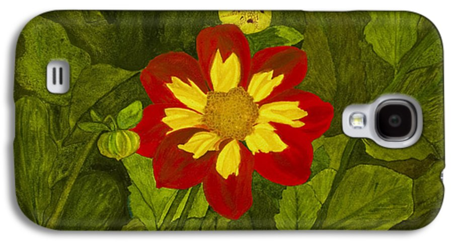Red Galaxy S4 Case featuring the painting Red Dahlia by Louise Magno