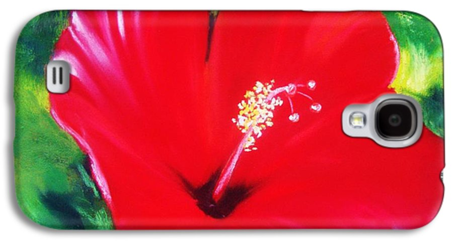 Bright Flower Galaxy S4 Case featuring the painting Red Hibiscus by Melinda Etzold