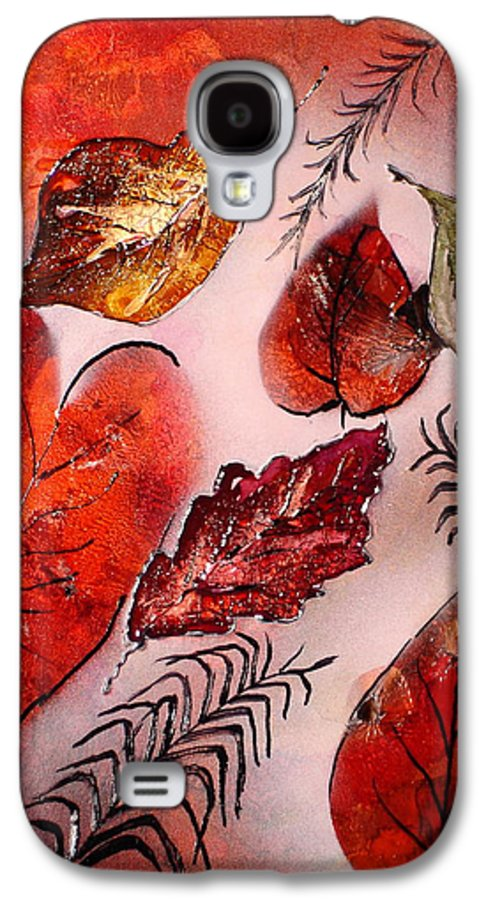 Leaf Galaxy S4 Case featuring the painting Red Leaves by Susan Kubes