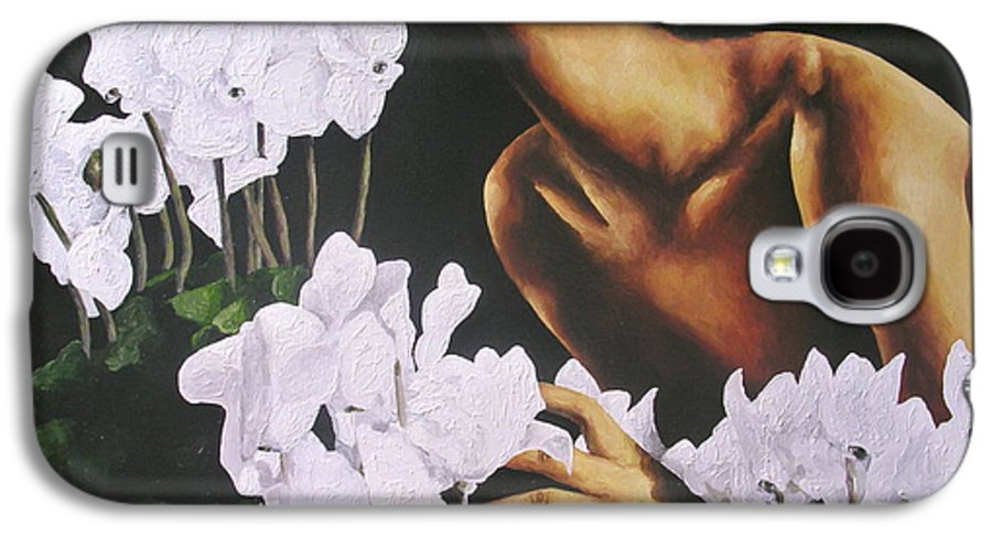 Nude Galaxy S4 Case featuring the painting Red Lips White Flowers by Trisha Lambi