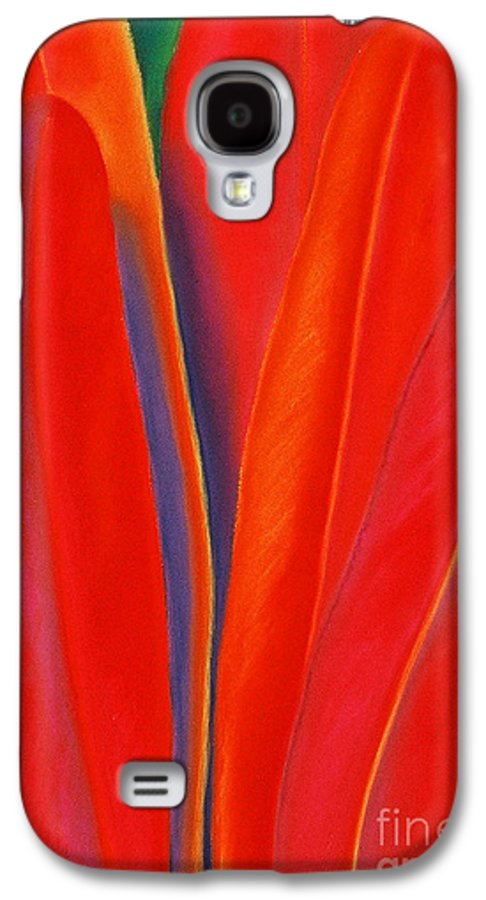 Red Galaxy S4 Case featuring the painting Red Petals by Lucy Arnold