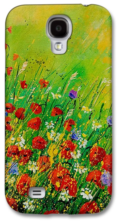 Flowers Galaxy S4 Case featuring the painting Red Poppies 450708 by Pol Ledent