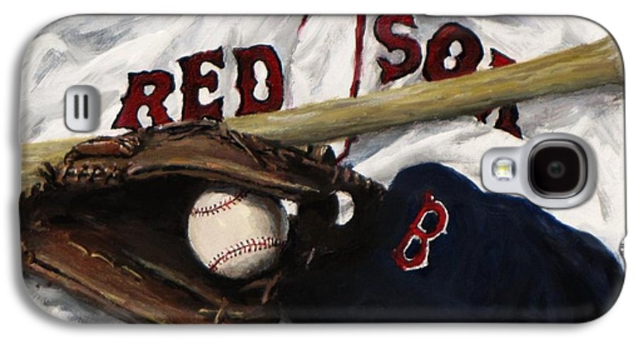 Baseball Galaxy S4 Case featuring the painting Red Sox Number Nine by Jack Skinner