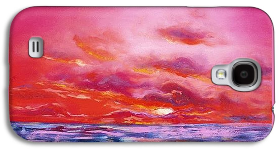 Red Galaxy S4 Case featuring the painting Red Sunset by Gina De Gorna