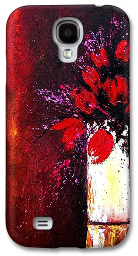 Flowers Galaxy S4 Case featuring the painting Red Tulips by Pol Ledent