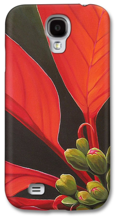 Poinsettia Closeup Galaxy S4 Case featuring the painting Red Velvet by Hunter Jay