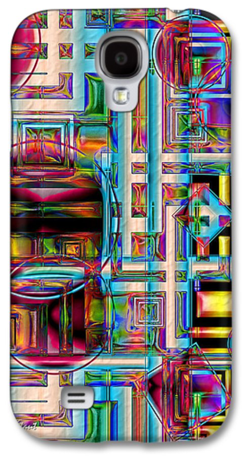 Abstract Shapes Color Geometric Galaxy S4 Case featuring the digital art Refinement by Carolyn Staut
