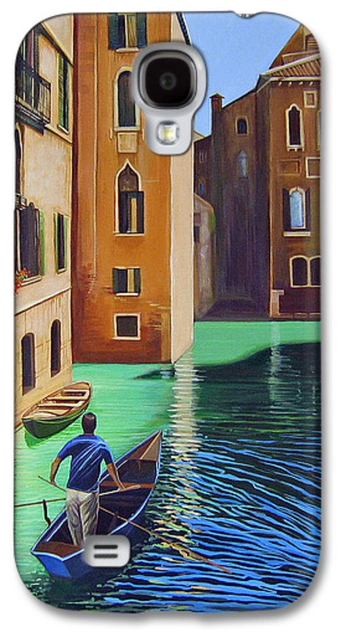 Canal In Venice Galaxy S4 Case featuring the painting Remembering Venice by Hunter Jay