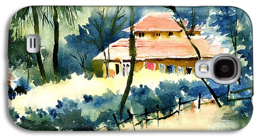 Landscape Galaxy S4 Case featuring the painting Rest House by Anil Nene