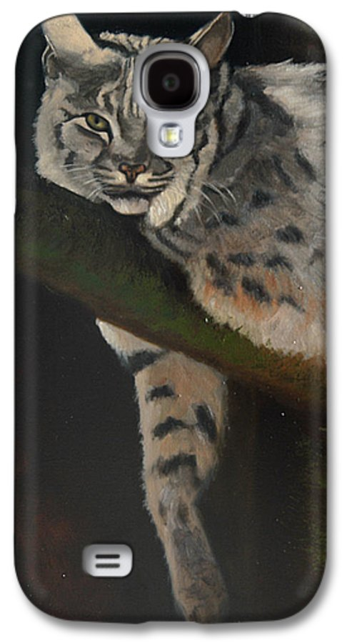 Bobcat Galaxy S4 Case featuring the painting Resting Up High by Greg Neal