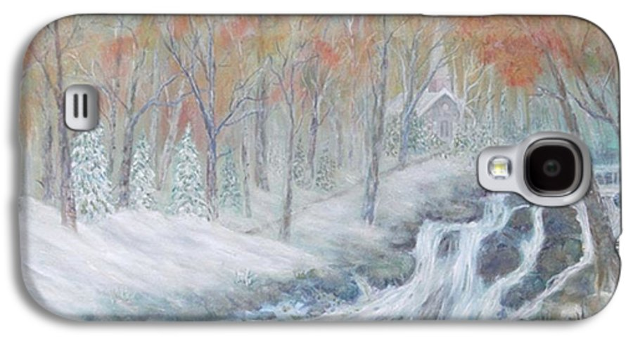 Snow; Landscape; Church Galaxy S4 Case featuring the painting Reverence by Ben Kiger