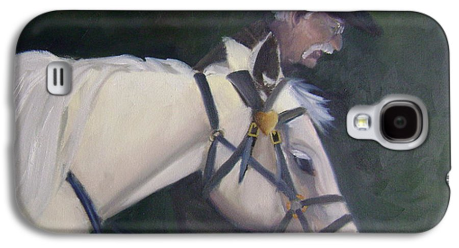 Old Man Horse... Galaxy S4 Case featuring the painting revised- Man's Best Friend by Toni Berry