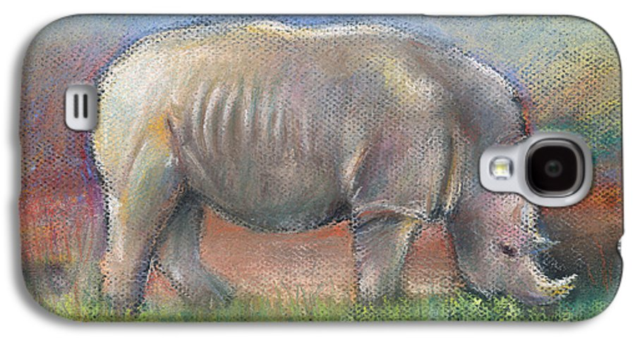 Rhino Galaxy S4 Case featuring the pastel Rhino by Arline Wagner