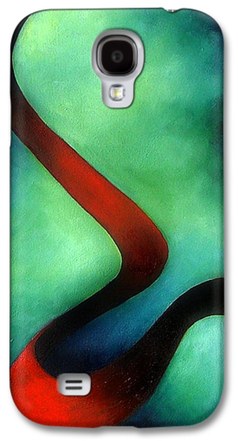 Red Galaxy S4 Case featuring the painting Ribbon Of Time by Elizabeth Lisy Figueroa