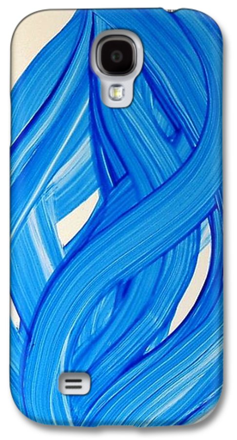 Abstract Modern Contemporary Yupo Art Painting Romantic Pop Blue Galaxy S4 Case featuring the painting Ribbons Of Love-blue by Manjiri Kanvinde