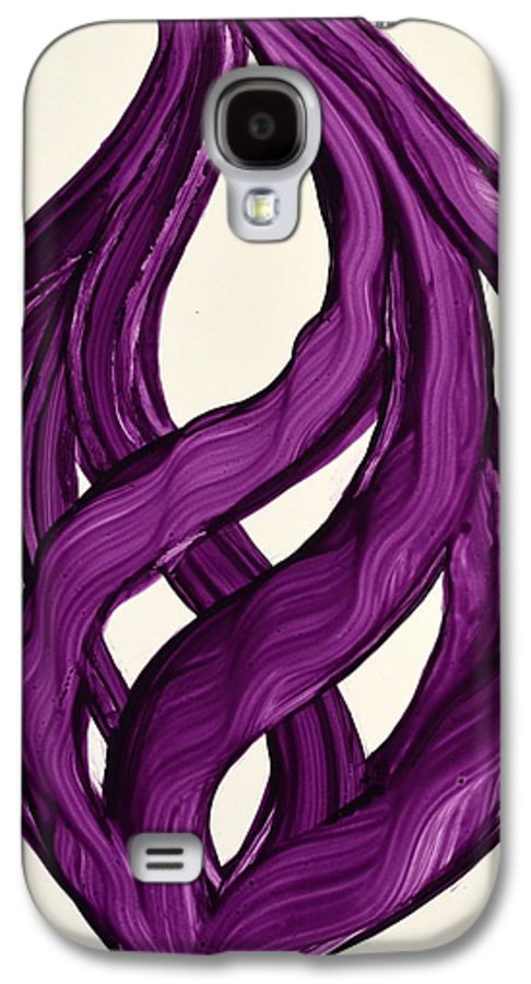 Abstract Art Yupo Comtemporary Modern Pop Romantic Vibrant Galaxy S4 Case featuring the painting Ribbons Of Love-violet by Manjiri Kanvinde