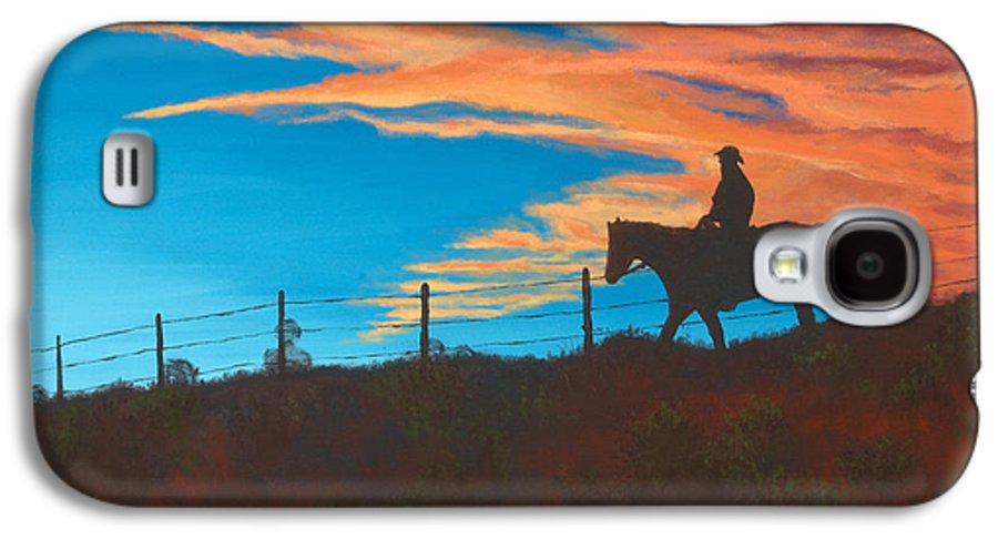 Cowboy Galaxy S4 Case featuring the painting Riding Fence by Jerry McElroy
