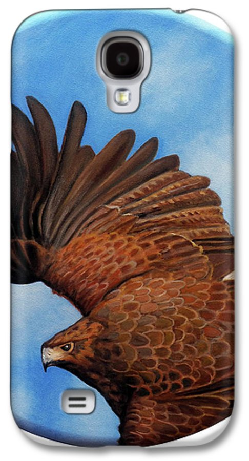 Hawk Galaxy S4 Case featuring the painting Riding The Wind by Brian Commerford