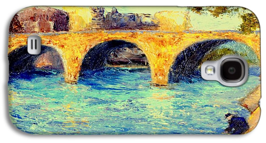 Impressionism Galaxy S4 Case featuring the painting River Seine Bridge by Gail Kirtz