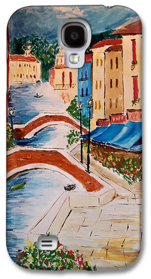 Canal Galaxy S4 Case featuring the painting Riverwalk by Leo Gordon