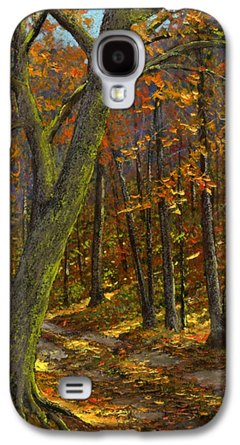 Landscape Galaxy S4 Case featuring the painting Road In The Woods by Frank Wilson