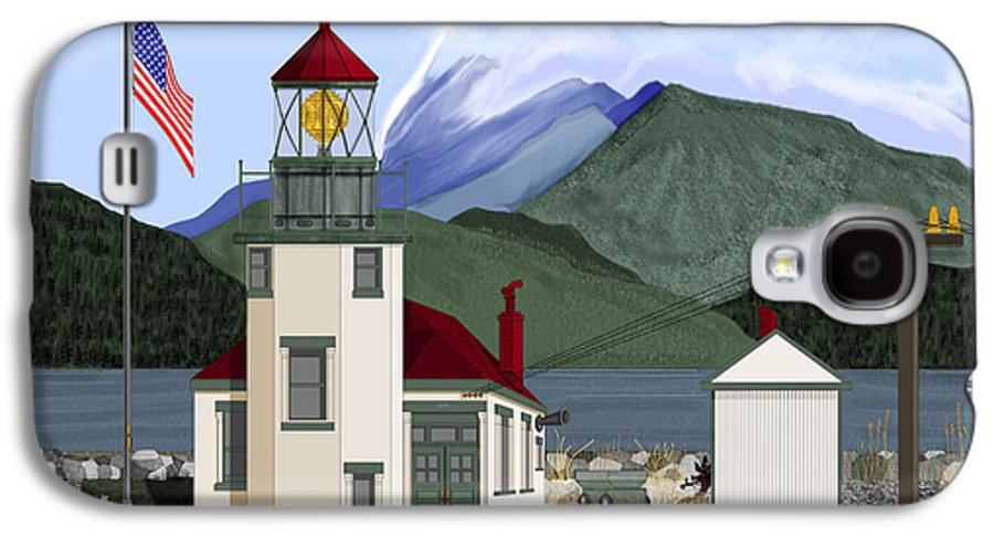 Point Robinson Lighthouse Galaxy S4 Case featuring the painting Robinson Point With Mount Rainier by Anne Norskog