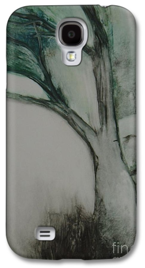 Monoprint Tree Rock Trees Galaxy S4 Case featuring the painting Rock Tree by Leila Atkinson
