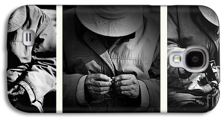 Rollup Rolling Cigarette Smoker Smoking Man Hat Monochrome Galaxy S4 Case featuring the photograph Rolling His Own by Avalon Fine Art Photography