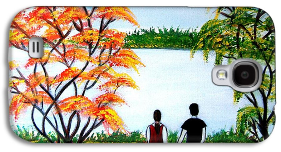 Romance Figures Autumn Orange Trees Green Pop Water Lake Love Valentine Yellow Lake Spring Bloom Galaxy S4 Case featuring the painting Romance In Autumn by Manjiri Kanvinde