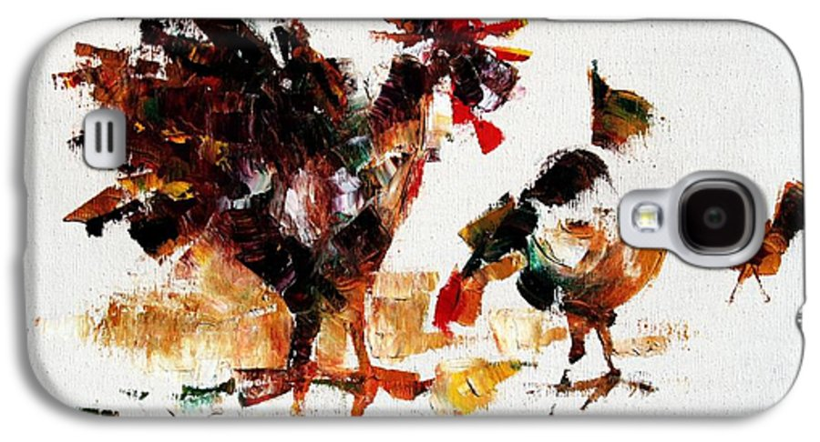 Rooster Galaxy S4 Case featuring the painting Rooster by Mario Zampedroni