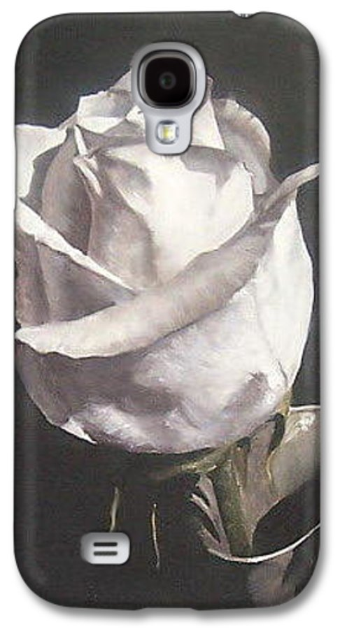 Rose Floral Nature White Flower Galaxy S4 Case featuring the painting Rose 2 by Natalia Tejera