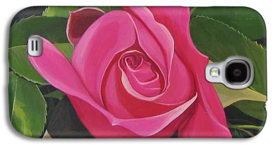 Pink Rose Galaxy S4 Case featuring the painting Rose Arcana by Hunter Jay