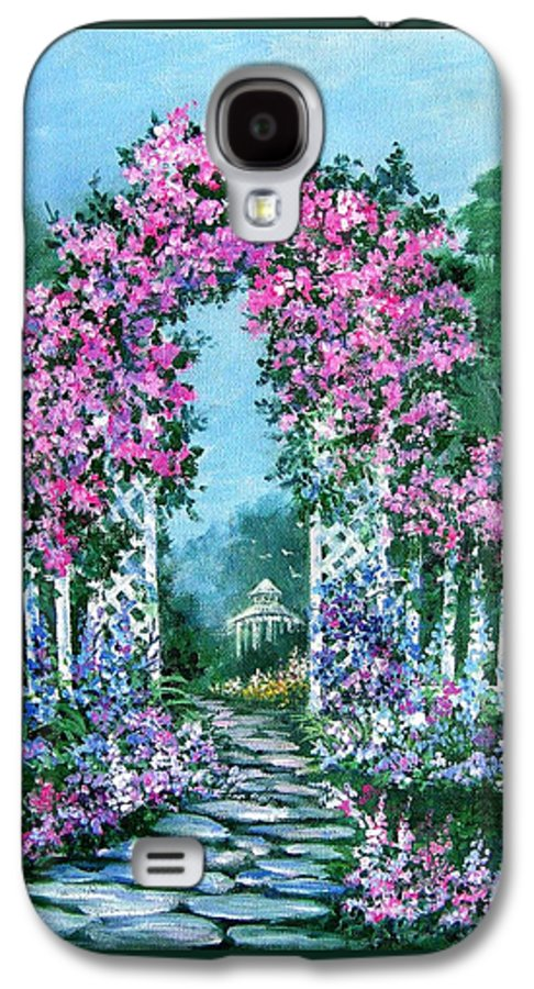 Roses;floral;garden;picket Fence;arch;trellis;garden Walk;flower Garden; Galaxy S4 Case featuring the painting Rose-covered Trellis by Lois Mountz