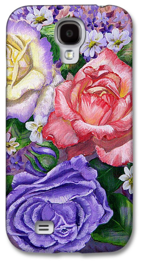 Rose Galaxy S4 Case featuring the painting Roses by Quwatha Valentine