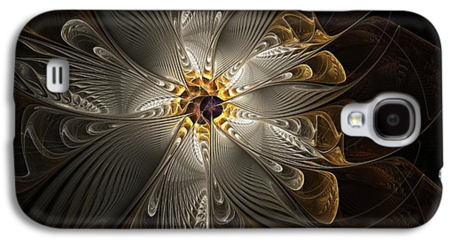 Digital Art Galaxy S4 Case featuring the digital art Rosette In Gold And Silver by Amanda Moore