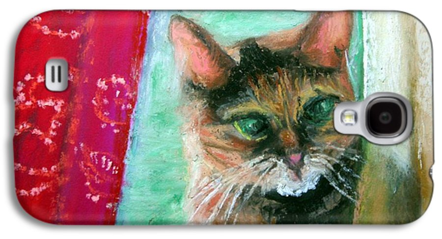 Cat Galaxy S4 Case featuring the painting Rosy In Color by Minaz Jantz