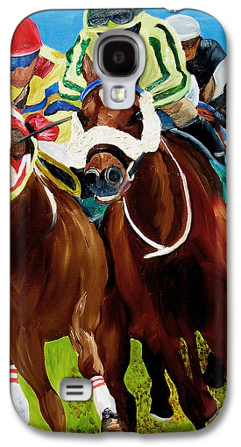 Horse Racing Galaxy S4 Case featuring the painting Rounding The Bend by Michael Lee