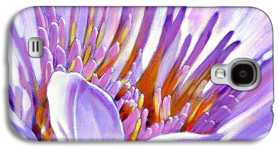 Water Lily Galaxy S4 Case featuring the painting Royal Purple And Gold by John Lautermilch