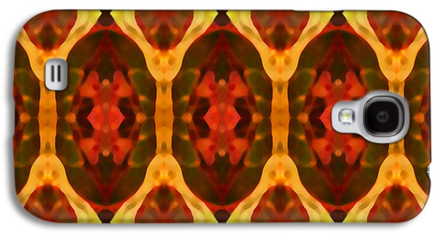 Abstract Galaxy S4 Case featuring the painting Ruby Glow Pattern by Amy Vangsgard